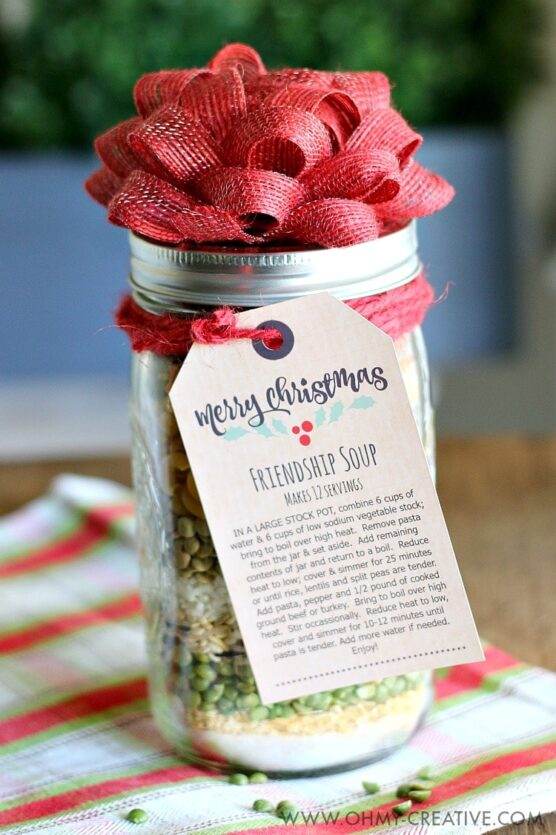 Soup ingredients inside a jar with a tag containing directions