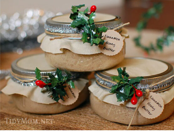 Cinnamon honey butter in decorated jars