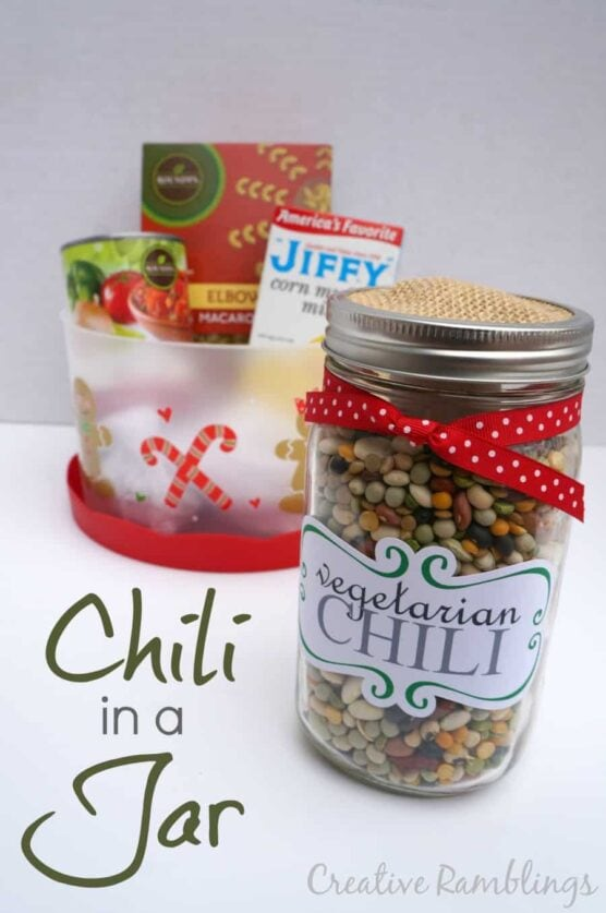 Chili ingredients in a jar and a basket