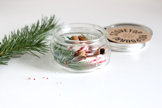 Rosemary, cinnamon sticks, and peppermint sticks inside a glass jar