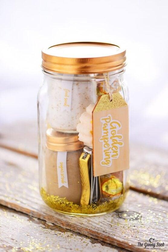 Spa items inside a mason jar