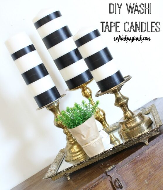 Washi tape candles