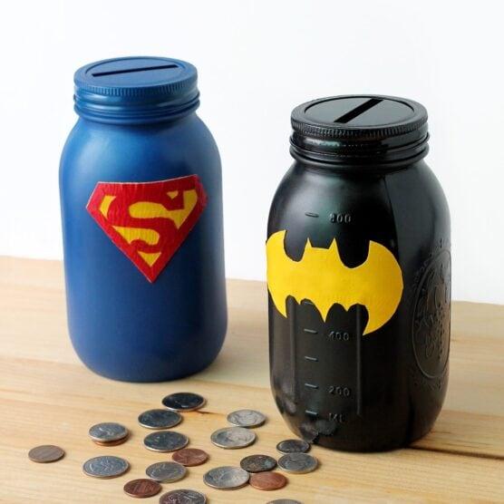 Mason jar superhero banks- Superman and Batman