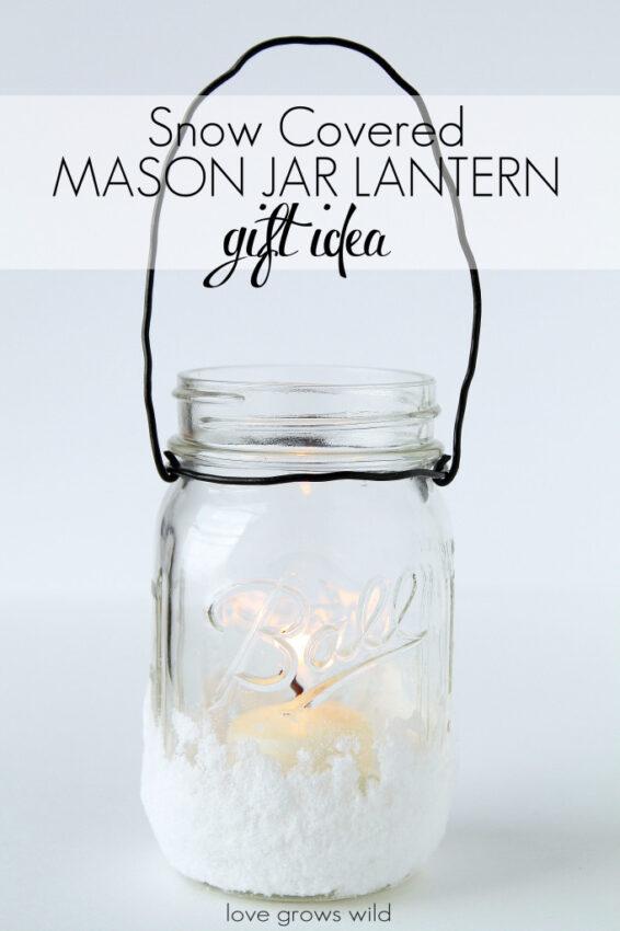 Mason jar gift lantern decorated with faux snow