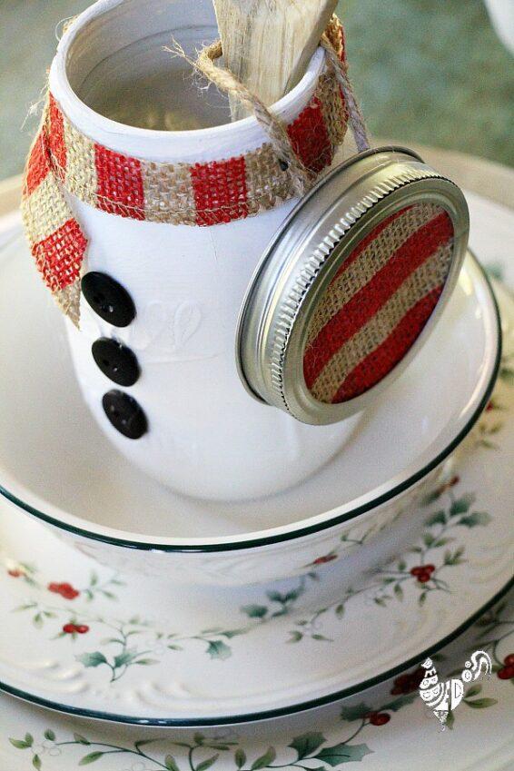 Snowman theme mason jar