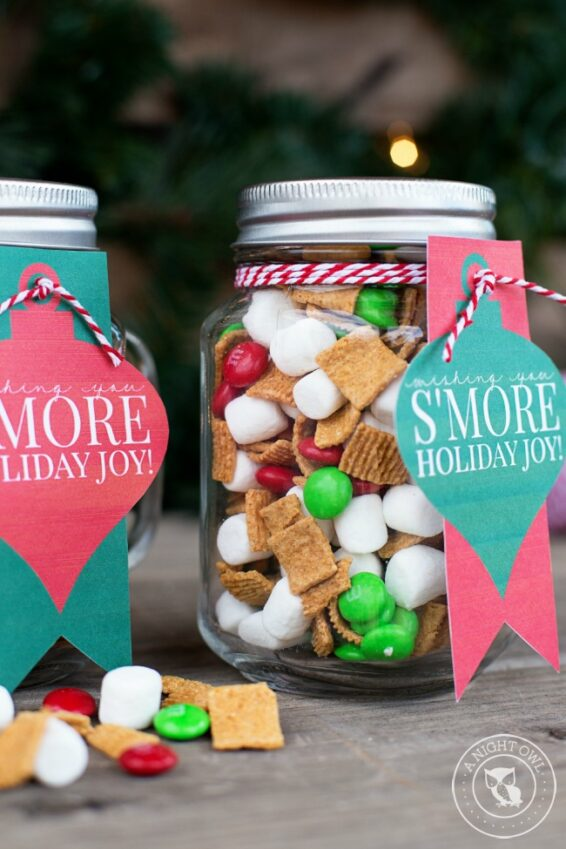 S'mores snack mix in a mason jar