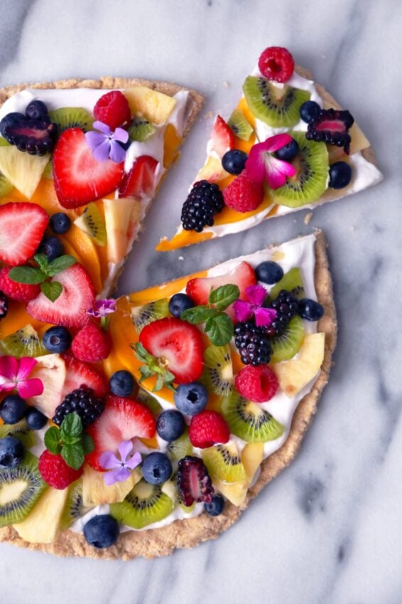 Healthy tropical fruit pizza