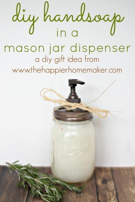 Hand soap in a mason jar dispenser