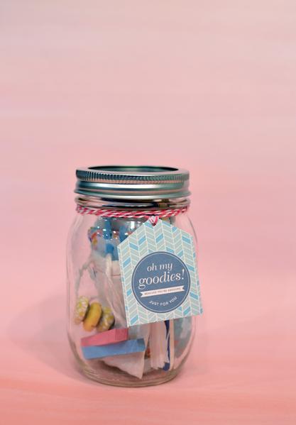 Mason jar filled with stationery