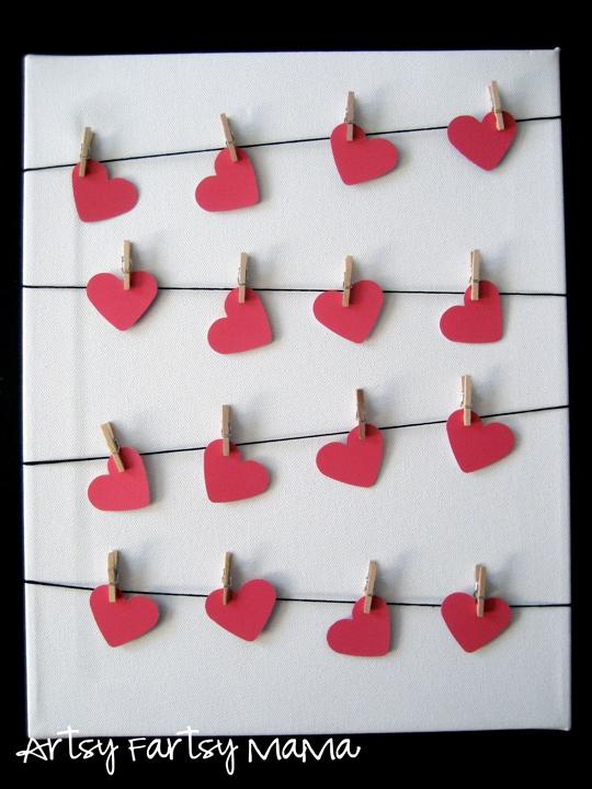 Valentine clothesline art