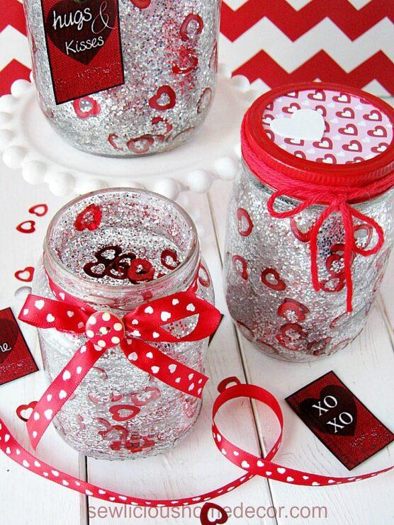 Glitter and confetti Valentine jars